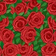 Seamless background with red roses and leaves. — Stock Vector