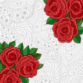 Background with red roses and leaves. — Stock Vector