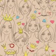Seamless pattern with beautiful princesses — Vettoriale Stock
