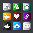 Set of color social network icon buttons with twitter bird cloud — Stock Vector