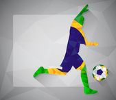 Brazilian football player with ball in triangles — Vettoriale Stock