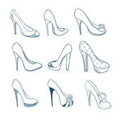 Set of nine shoes. Sketch style — Vector de stock