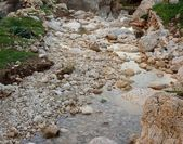 Pebble scree in a small mountain creek — Stock Photo