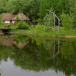 Traditional farmer's house reflecting in a pond in open air museum, Kiev, Ukraine — Stock Photo