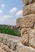 Ancient weathered stone wall in Nahal Taninim archeological park in Israel — ストック写真