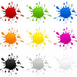 Stock Vector: Set of color inkblots