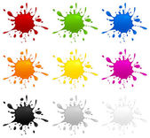 Conjunto de inkblots de color — Vector de stock