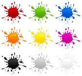 Conjunto de inkblots de color — Vector de stock