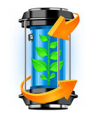 Energy container with plant — Stock Vector