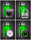 Battery icons with symbol — Stock Vector