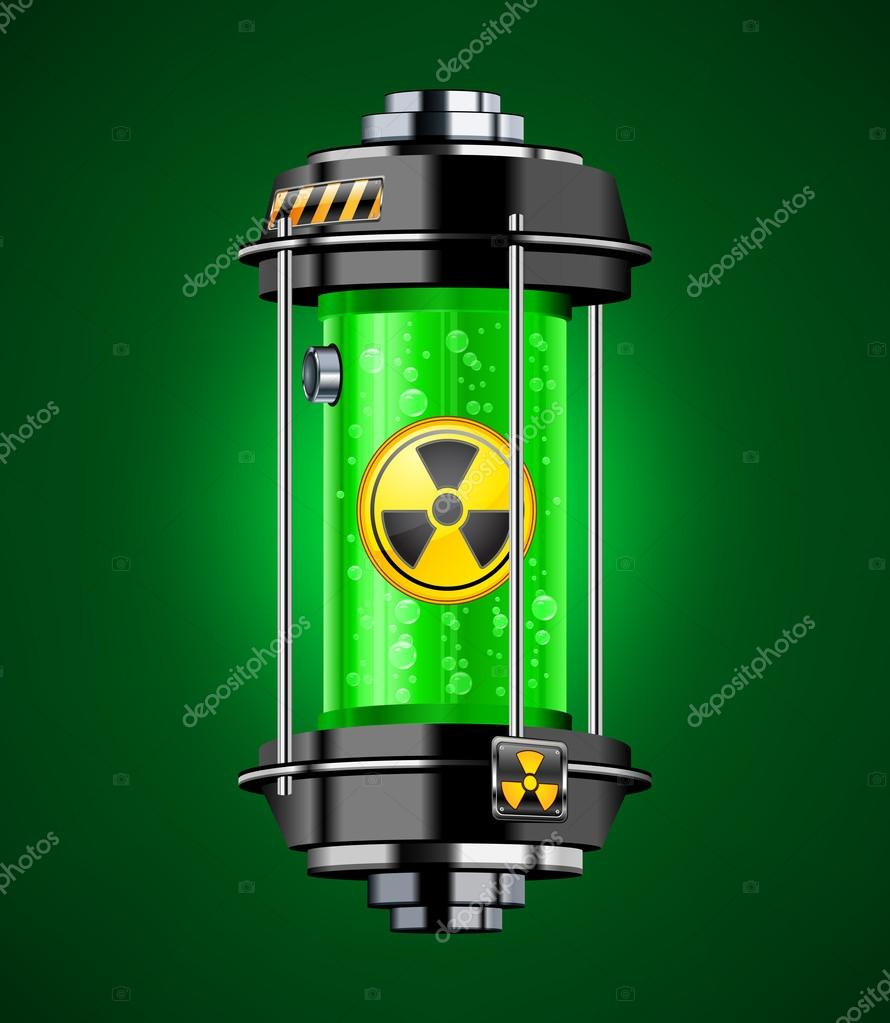 Container of nuclear energy in green color, vector illustration — Stock Vector #12406035