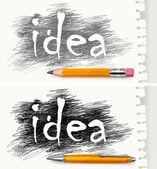 手与钢笔和铅笔绘制的字母 — 图库矢量图片