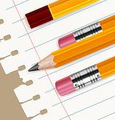 карандаши & бумаги в линии — Cтоковый вектор