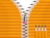 Zipper pencils — Stock Vector