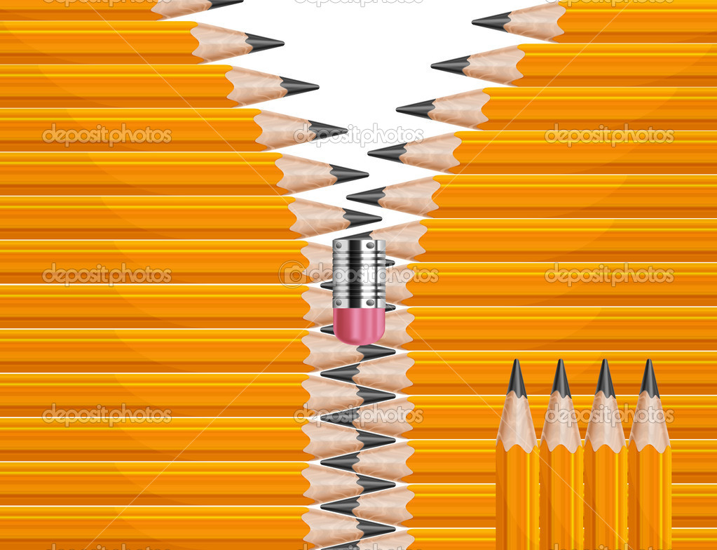Wooden sharp yellow pencils zipper form, vector illustration  — Stock Vector #13177267