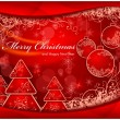 Christmas background with trees and balls in red & text — Vektorgrafik