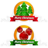 Two label with balls and fir tree & text — Stock Vector