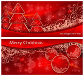 Christmas two background with trees and balls & text — Stock Vector