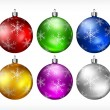 Christmas baubles on white  — Stock Vector