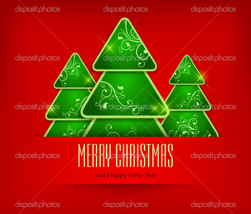 Green fir trees on red background & text, vector illustration  — Stock Vector #13858168