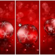 Christmas balls with beads in red — Stock Vector