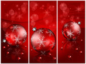 Christmas balls with beads in red — Vector de stock
