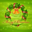 Christmas wreath and bells & text — Stockvector