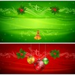 Two color Christmas background & text — Stock Vector