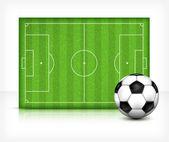 Campo de fútbol (soccer) con bola — Vector de stock