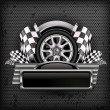 Racing emblem on black & text - Imagen vectorial