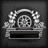Racing emblem on black & text — Vector de stock