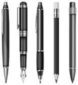 Ensemble de stylos et crayons — Vecteur