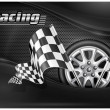 Checkered flags and wheel & text - Imagen vectorial