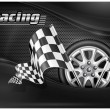 Vector de stock : Checkered flags and wheel & text