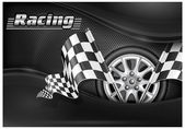 Checkered flags and wheel & text — Stock Vector