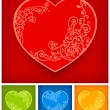 Heart with floral — Stock Vector