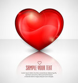 Red heart on white & text — Vector de stock
