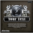 Racing emblem speedometer on black & text - Stock Vector
