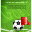 Football (soccer) ball near corner flag and text — Imagens vectoriais em stock