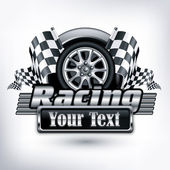 Racing emblem on white & text — Vector de stock