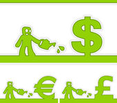 Human and money signs — Stock Vector