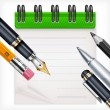 Royalty-Free Stock Vector Image: Notebook and writing tools