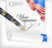 American blank and pen — Stock Vector