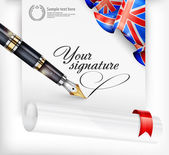 English blank and pen — Vector de stock