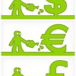 Human and money signs — Stock Vector #22841692