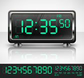 Reloj digital en blanco — Vector de stock