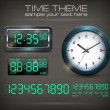 Clocks and electronic dial on black — Imagen vectorial