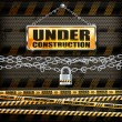 Under construction sign & lock — Stock Vector