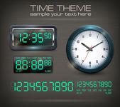 Relojes y electrónica dial negro — Vector de stock