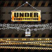 Under construction sign & lock — Stok Vektör